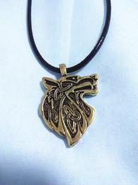 Wholesale Wolf Amulet - New Punk Wolf Head Necklace Norse Vikings Pendant Vintage Bronze Wolf Head Celttic Spiritual Amulet Pendant Talisman Necklace