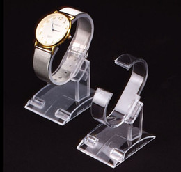 Wholesale Display Show Glass - Free shipping 10pcs Small size C- rings style Transparent Plastic Wrist Watch Display Holder Rack Store Shop Show Stand for Women's