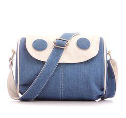 Wholesale Neon Crosses - Women, girls spring new denim cross body bag classic soft one shoulder bag beige, neon yellow