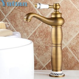 Wholesale Bathroom Faucets Antique Bronze Finish - Free shipping Contemporary Concise Bathroom Faucet Antique bronze finish Brass Basin Sink Faucet Single Handle water taps YT5085
