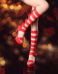 Wholesale Strappy Sandals Rhinestones - Women Fashion Peep Toe Shining Gold Rhinestone Strappy High Heel Sandals Ankle Wrap Gladiator Sandals Wedding Dress Shoes