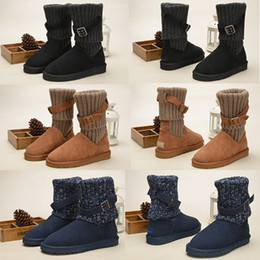 Wholesale Wgg Size - Wholesale Women WGG Australia Classic Boots girl triple black grey blue boots Boot Snow Winter boots leather outdoor shoes size 35-40