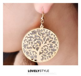 Wholesale Antique Chandelier Earrings - Mix color Antique silver Gold Tree of life earrings Vintage Retro Lucky for women and girls