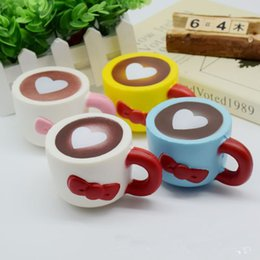 Wholesale Kawaii Squishies Wholesale - New Slow Rising Squishies High Quality Kawaii Cute Jumbo heart coffee cup Soft Scented Squishy Stretch Kid To