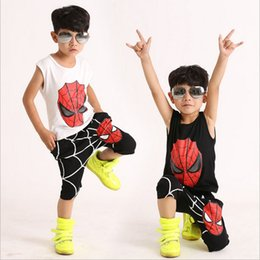 Wholesale Kids Spiderman Tracksuit - 2 Color Spiderman Baby Boys Kid free DHL SportsWear Tracksuit Outfit cartoon Suit Summer kids sleeveless Vest +shorts Suit set B001