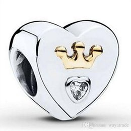 Wholesale clear love heart - 925 Sterling Silver Hearts & Crown Clear Zircon Charm European Charms Beads Fit Pandora Snake Chain Bracelet DIY Jewelry Wholesale 16