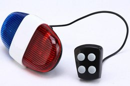 Wholesale Wholesale Electric Mountain Bike - Mountain Bike Horns Super Loud Bell Bike 6 LED Flash Light 4 Sounds Electronic Electric Horn Alarm bike helmets