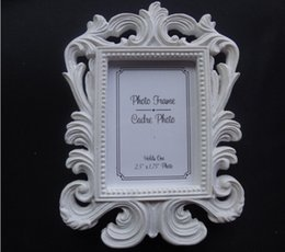 Wholesale Baroque Resin Frame - Resin White Baroque Photo Frame Wedding Place Card Holder Picture Frames 400pcs lot