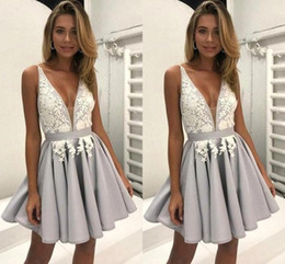 Wholesale Black Dress Size 15 - 2018 Little Silver Short Homecoming Dresses with White Lace A-Line Deep V-Neck Sweet 15 Graduation Gowns Sexy Chic Cocktail Party Wear