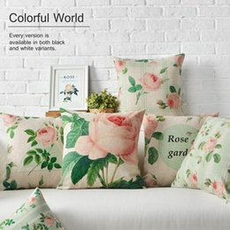 Wholesale natural sofas - 45cm Pink Rose Fresh Green Leaf Natural Cotton Linen Fabric Waist Pillow 18inch Hot Sale New Home Decorative Sofa Car Back Cushion