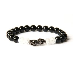 Wholesale Couple Skull Bracelet - Powerful Couples Jewelry Wholesale 8mm Natural Black Onyx Stone With Popcorn Crystal Beads Double Skull Beaded Bracelet