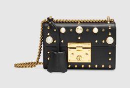 Wholesale Kinds Cell Phones - 2016 new brand handbag golden rivet rivets and glass pearl fashion leather handbag shoulder bag two kinds of usage Free Shipping