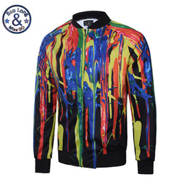 Wholesale Coat Colorful Men - Wholesale- New Arrive Fashion Autumn 3D Jackets Print Colorful Paint Long Sleeve Hip Hop Coat With Zipper Veste Homme Plus Size M-3XL
