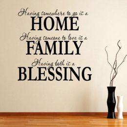 adesivi benedetti Sconti Autoadesivi della lettera di alfabeto di trasporto libero Citazione di benedizione della famiglia di citazione Arte murale smontabile Home Decor Vinile Wall Sticker