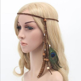 Wholesale Hair Ornaments For Women - bohemian peacock feather braided headband hair head bands beach accessories for women girl hairband ornaments tiara decorations high quality