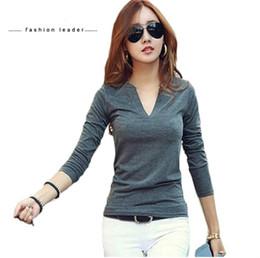 Camisa coreana on-line-Sólidos 14 cores Com Decote Em V Blusas Sexy Magro De Malha de Manga Longa Chemise Femme Coreano Tops para Mulheres clothing Blusa Top Camisa
