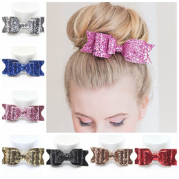 "Wholesale Womens Hair Bows - Women Girls Boutique Glitter Hair Bow with Clip 16colors 4.5"" bow clips Womens Satin Big Bow Hair Clip Barrette Accessory"