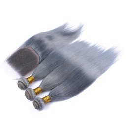 Wholesale Silky Human Hair Weave - Brazilian silky straight gray hair weave 3pcs with closure silver grey human hair extensions with free middle 3 way part lace closure