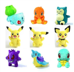 Wholesale Pokemon Dragonite Toy - Pikachu Gengar Squirtle Dragonite Plush dolls 20cm (8 inch) Poke plush toys Stuffed Dragonitanimals toys soft Christmas Gifts Free Shipping