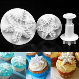 Wholesale Plunger Cutter Mold Sugarcraft - Snowflake Plunger Mold Fondant Cake Decorating Sugarcraft Cutter Mold Tools Cake Tools 3pcs set 400sets OOA2532