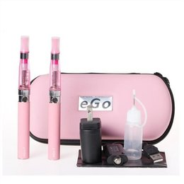 Wholesale Ego T Double Stems - eGo eGo-CE4 Starter Dual Stem Kit E-Cigarette CE4 Atomizer 650mAh 900mAh 1100mAh eGo-T Battery Electronic Cigarette with Zipper Case Package