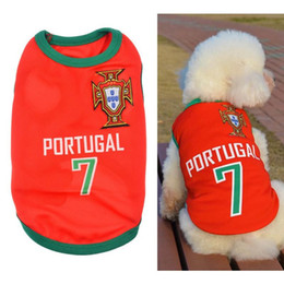 Wholesale Football Pets - World Cup Football Jersey Pet Dog T-shirt Vest New Fashion Summer Cute Dog Pet Vest Puppy T Shirt World Cup Football doggy cloth