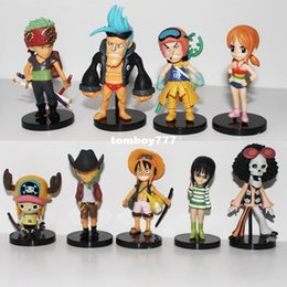 Wholesale Robin Hot Toys - NEW hot 8cm 9pcs set Q version One piece sanji zorro Nami Robin luffy GOLD action figure toys Christmas toy hzw9