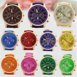Wholesale Mens Watches Roman Numerals - Luxury Unisex Geneva Watch Women Mens Roman Numerals Leather PU Quartz Wrist Watches Bracelet Fashion Sports Cystal Wristwatch 2017