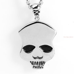Wholesale Gothic Beaded Black Necklace - Mens Gothic Biker Stainless Steel Pendant Necklace, Silver, Skull High Quality Jewelry Silver Black Tone