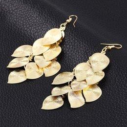 Wholesale Womens Jewlery - Womens Charms Jewlery Alloy Gold Silver Tone Leaf Drop Dangle Hook Earrings