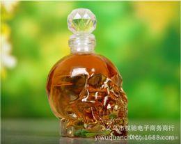 Wholesale Skull Hip Flask - Crystal Skeleton Head Clear Glass Bottles Crystal Skull Shot Glass Whiskey Vodka wine flask bottle Novelty Hip cup 350, 500, 1000ml