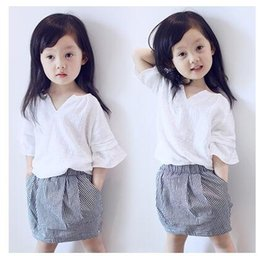 Wholesale 4t Pencil Skirts - Children set 2016 new summer girls Suits White V collar T popling skirt Pencil Skirt Sets Free Shipping