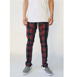 Wholesale Fit Zip - FOG Side Velvet Scottish Plaid Inside Zip-Up Slim-Fit Trousers Fashion Men Retro Pants Top Quality HFYTKZ015