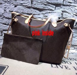 Wholesale Quality Shops - wholesale Favorite High quality brand fashion women NEVERFULL MM  GM damier handbag pink inside with purse shopping shoulder bag