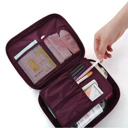 Wholesale Bag Cosmetic Coloured - Canvas cosmetic bag Cosmetic mini Travel Makeup Cases Luxury Fashion Kit Solid 6 Colours For Lady Small Zipper Cosmetic Bags 2 pcs retail
