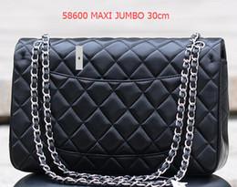 Wholesale Plain Velvet Fabric - 1119 Classial Quilted Chain 30CM Jumbo Caviar Lambskin Double Flap Bag Women's Genuine Leather Shoulder Bag