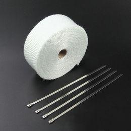 Cinta de fibra de vidrio de color blanco de 10 m para envoltura térmica del tubo de escape del motor con 6 piezas de abrazaderas de cable desde fabricantes