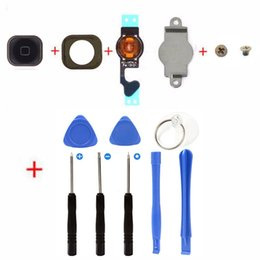 Wholesale Rubber Button Cap - Iphone 5 home button replacement key cap + Flex Cable + Rubber Gasket + Metal Piece + 2 Screws + 8 in 1 repair tools for Iphone 5