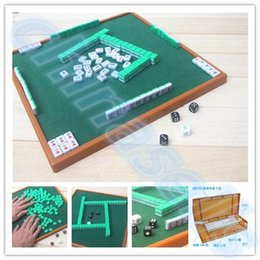 Wholesale Chinese Traditional Family - Wholesale- small travel mahjong set mini Mahjong portable mahjiang tiles with table pieces traditional chinese family Board Game