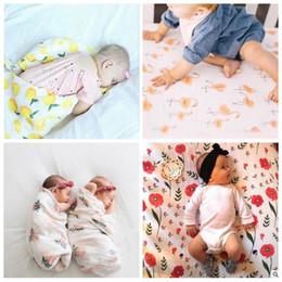 Wholesale Wholesale Cotton Baby Muslin - Muslin Baby Blankets Ins Bamboo Swaddling Toddler Cotton Wraps Lemon BathTowel Flamingo Summer Swaddle Quilt Sleeping Bags Sleepsacks B3120