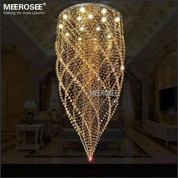 Wholesale Amber Surface - Large Crystal Ceiling Lights Fixture Amber Crystal Light lustre de cristal Lamp for Stair, Staircase with GU10 bulbs Dia 800mm