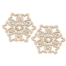 Wholesale Wooden Embellishments - DY208 New 10pcs 8*8cm Christmas Hanging Ornaments Decoration Wooden Hollow Snowflake Design Embellishments New Year Decoration Christmas