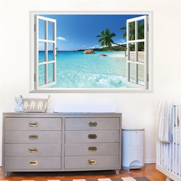 Wholesale Window Sticker Fake - coconut tree ocean beach 3d fake windows wall stickers living room decoration diy home decals sea landscape mural art posters