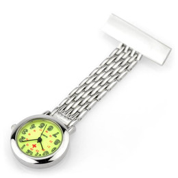 Wholesale Hanging Brooch - nurse gifts watch nurse watches brooch stainless silver classic hanging pocket fob nurse watch Japanese movement high quality