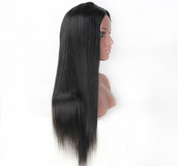 Wholesale Indian Remy Straight Hair Styles - Top Grade Peruvian Hair Silky Straight Human Hair Full Lace Wigs Glueless Long Hiar Style Glueless Full Lace Wig For Black Woman