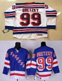 Недорогие трикотажные изделия хоккея china онлайн-Дешевые Нью-Йорк Рейнджерс Джерси 99 Уэйн Гретцки Джерси синий белый Оптовая Нью-Йорк Рейнджерс хоккейные майки фарфора