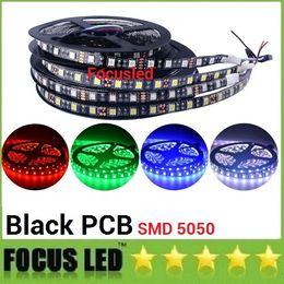 Wholesale Led Lighting Boards - LED Strip 5050 Waterproof IP65 Black PCB board 12V flexible light 60 leds m 5m lot White Warm White Blue Green Red RGB
