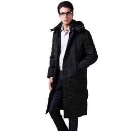 Wholesale Over Coat Jacket - New 2016 Winter Men Long Jacket 90% Duck Down Snow Outwear Hooded Coat Over Knee Length Bussinessman Thickness Warm Parkas