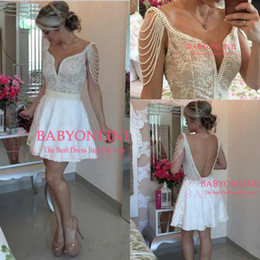 Wholesale Short Crystal Bodice Prom Dresses - 2017 New Arabic Style Homecoming Dresses Little White Pearls Sheer Neck Lace Bodice Short Prom Dress Vestido Formatura Curto Cocktail Dress