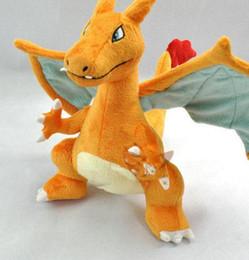 "Wholesale Free Stuff Games - Poke mon 13"" CHARIZARD Rare Figure Soft Stuffed Plush Toy Orange Doll Kids Toys Brinquedos Free Shipping"
